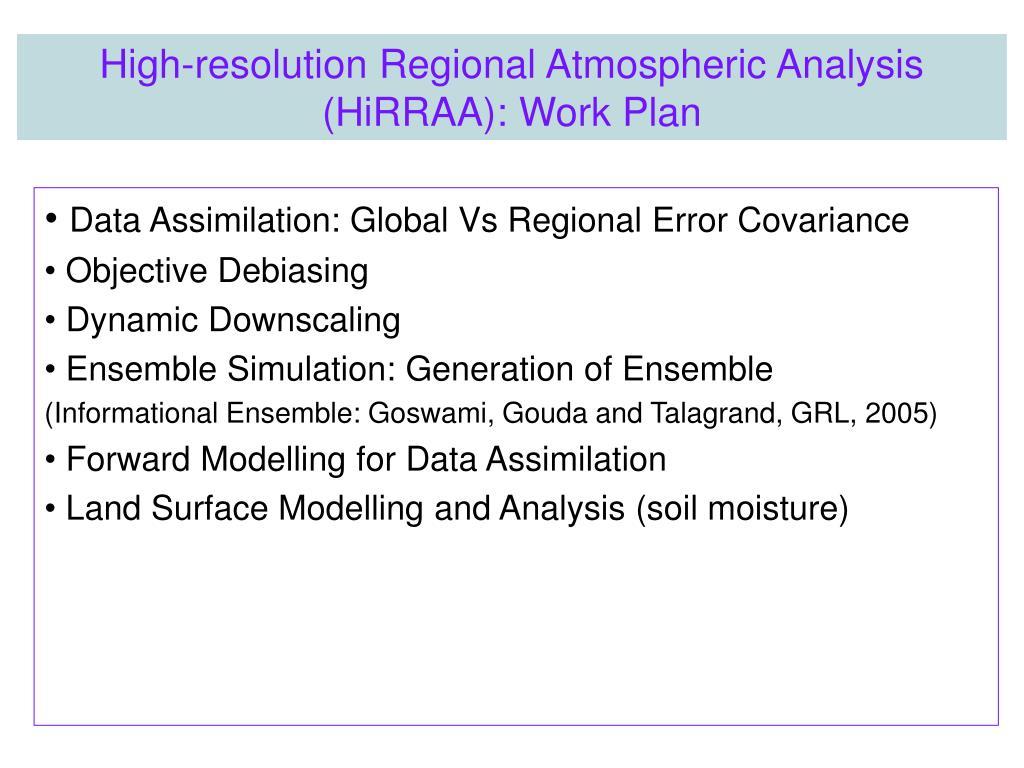 Data Assimilation: Global Vs Regional Error Covariance