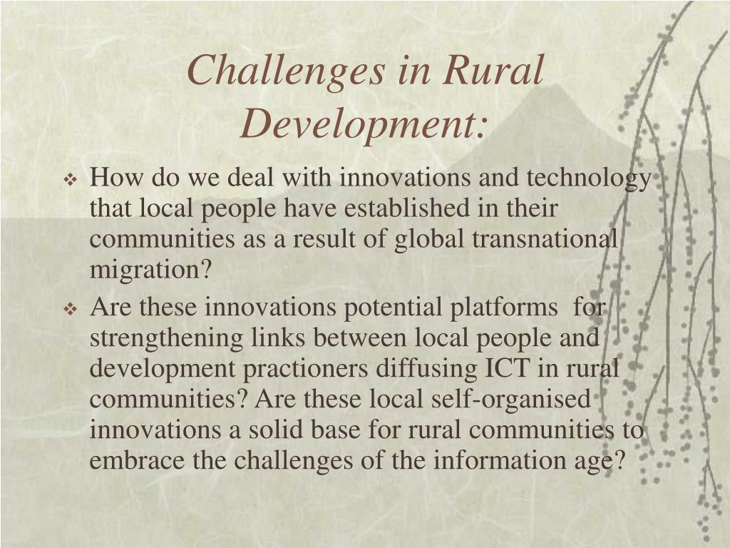 Challenges in Rural Development: