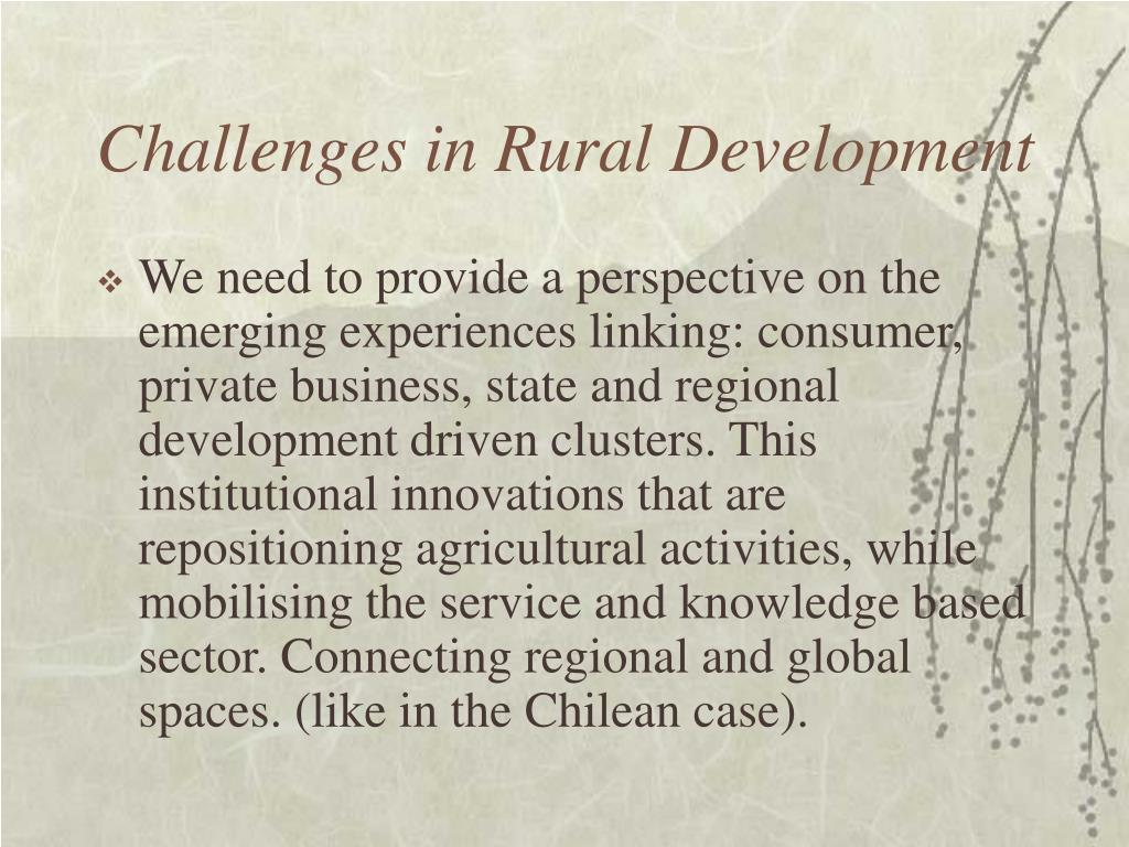 Challenges in Rural Development