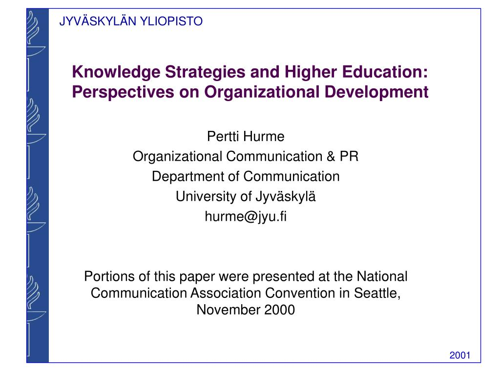 Knowledge Strategies and Higher Education: Perspectives on Organizational Development