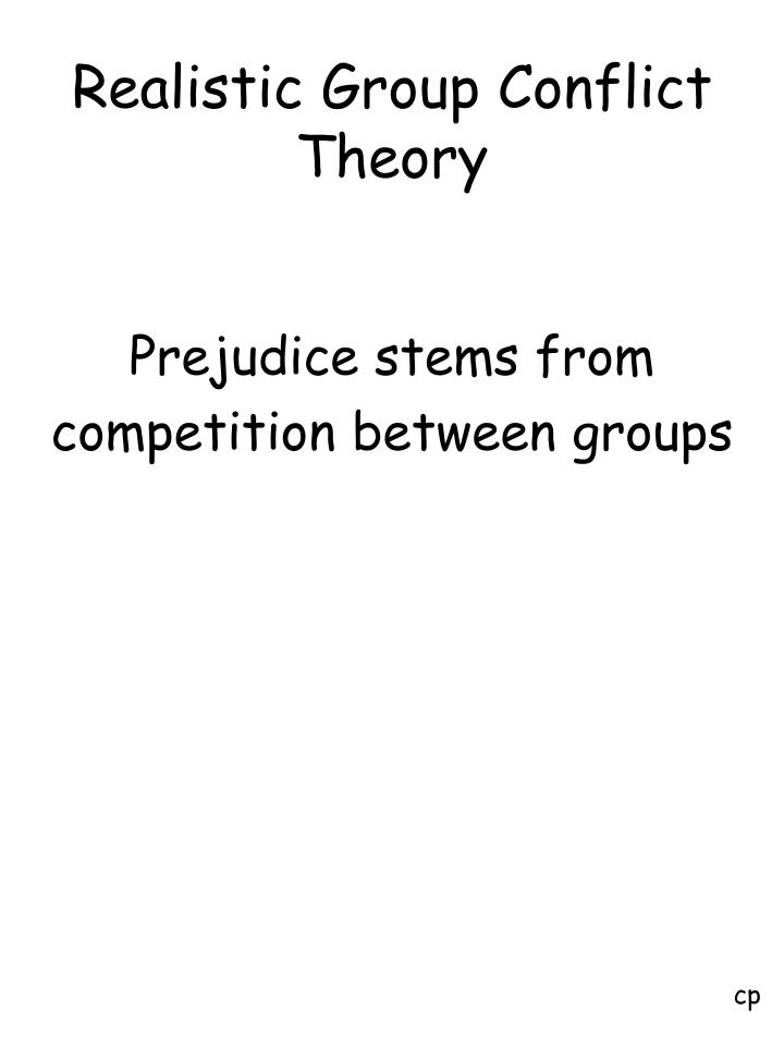 an analysis of realistic group conflict and prejudice Attitudes towards aboriginal australians with concern regarding the degree of prejudice of most of their realistic threat has its theoretical origins in realistic group conflict theory, but is primarily concerned with equation model analysis was conducted, all threat variables were tapping the single dimension of realistic.