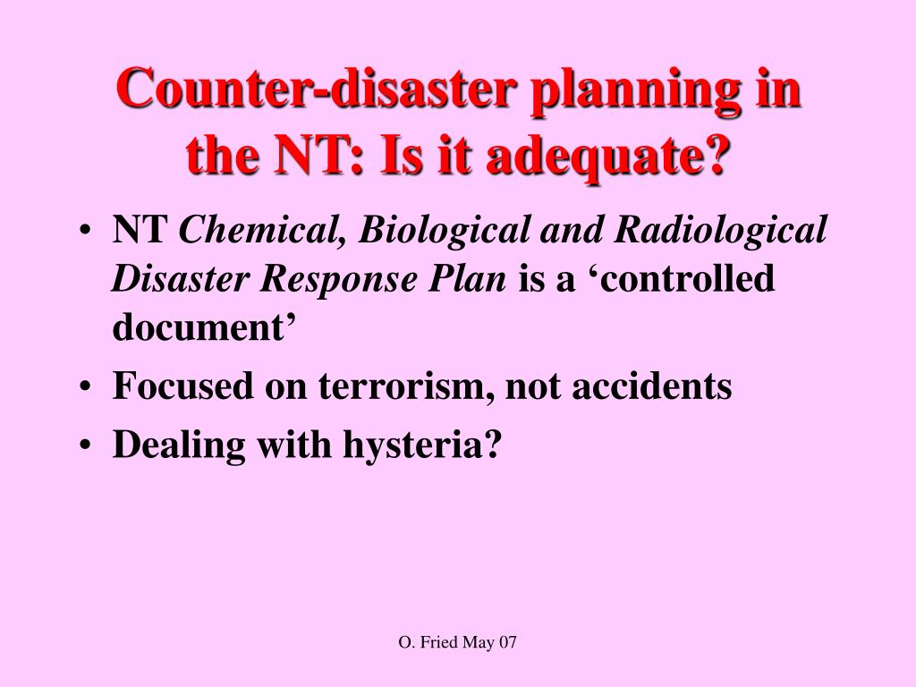 Counter-disaster planning in the NT: Is it adequate?