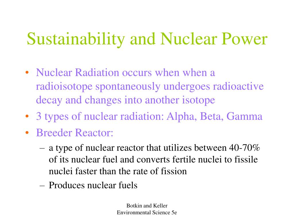 Sustainability and Nuclear Power