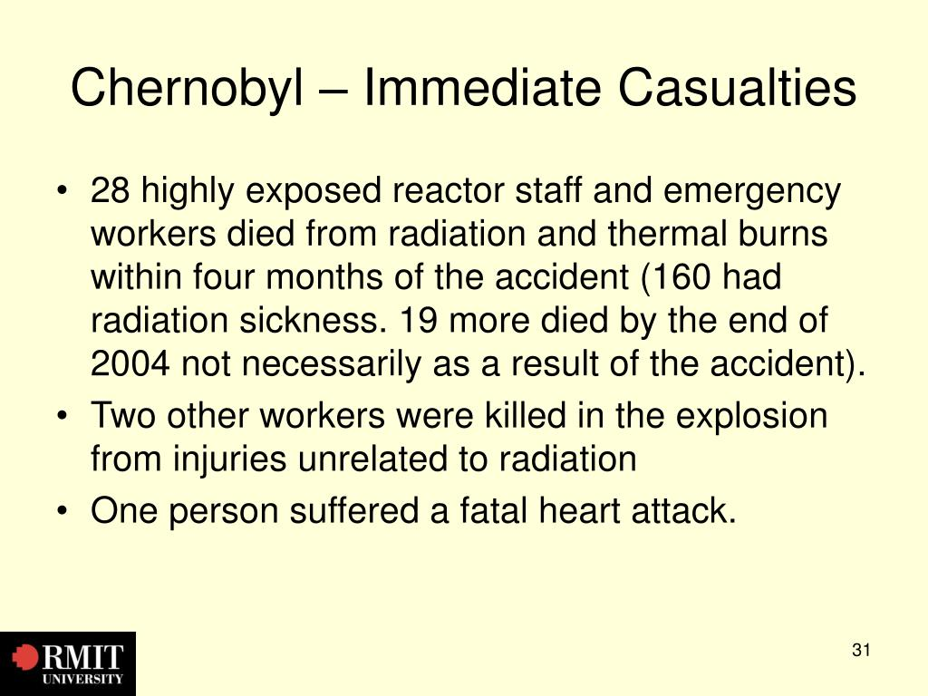 Chernobyl – Immediate Casualties