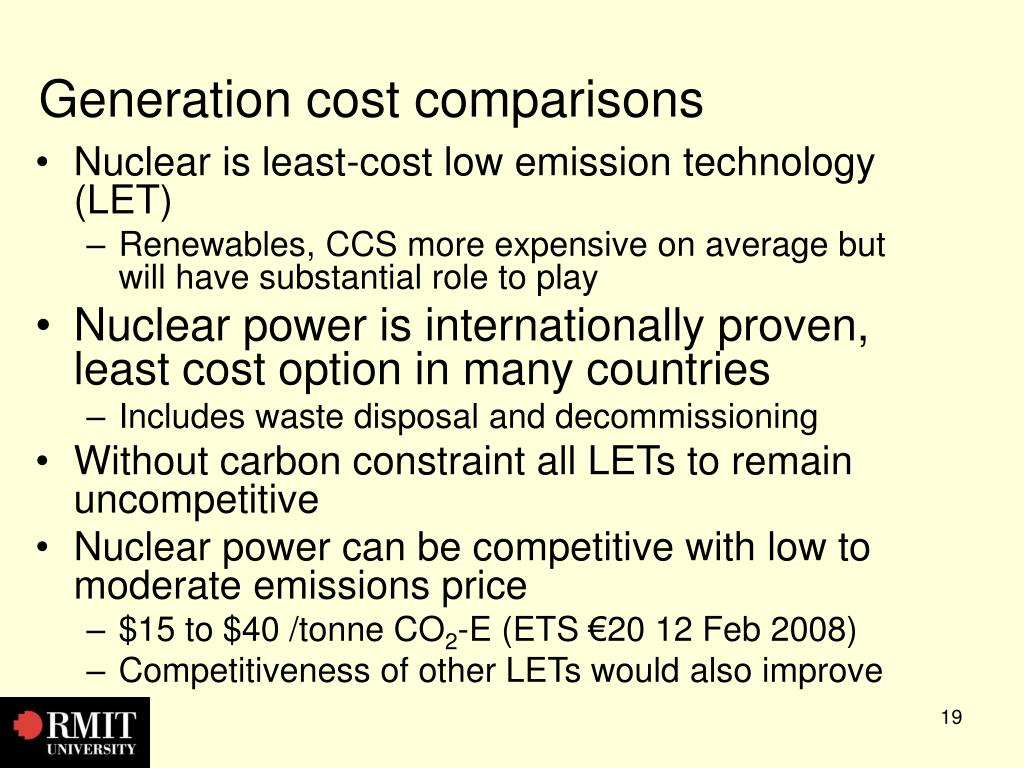 Generation cost comparisons