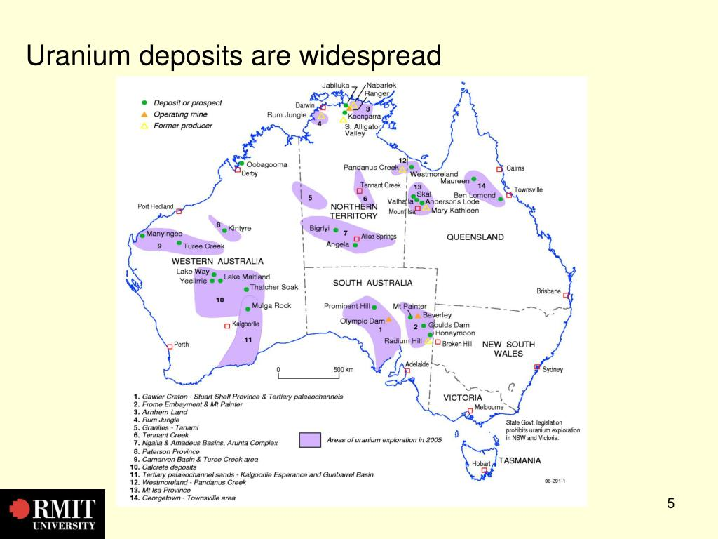 Uranium deposits are widespread
