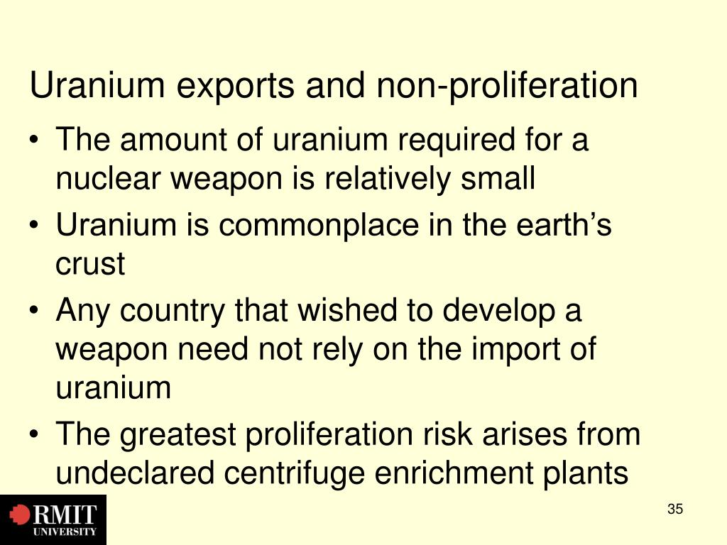 Uranium exports and non-proliferation