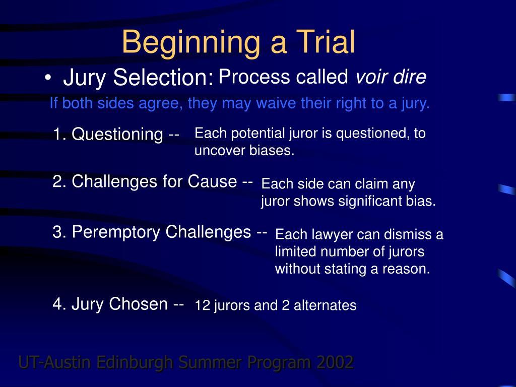 Beginning a Trial