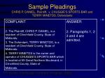sample pleadings chris p daniel plaintiff v chuggie s sports bar and terry minetos defendants