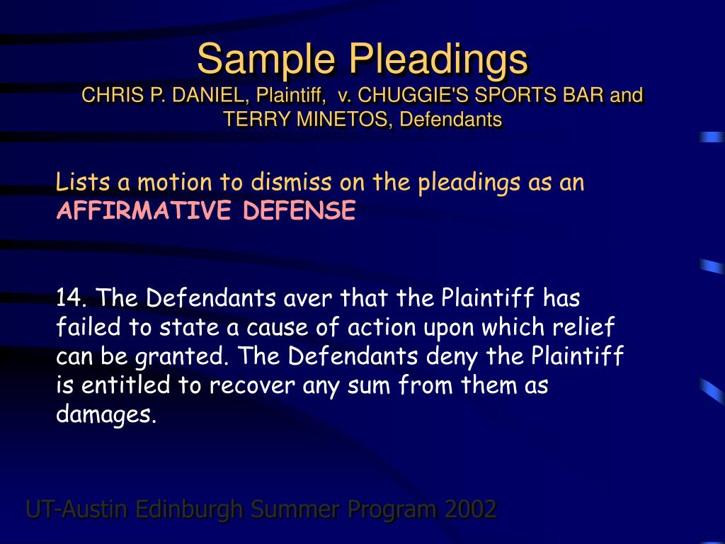 Sample Pleadings