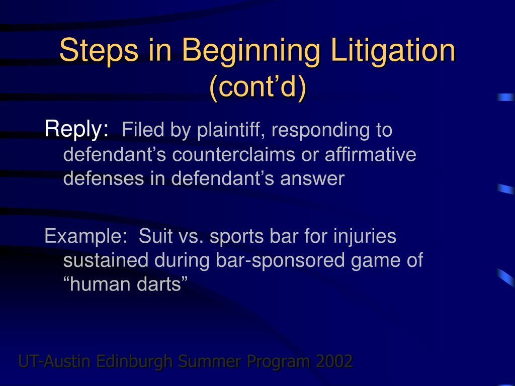 Steps in Beginning Litigation