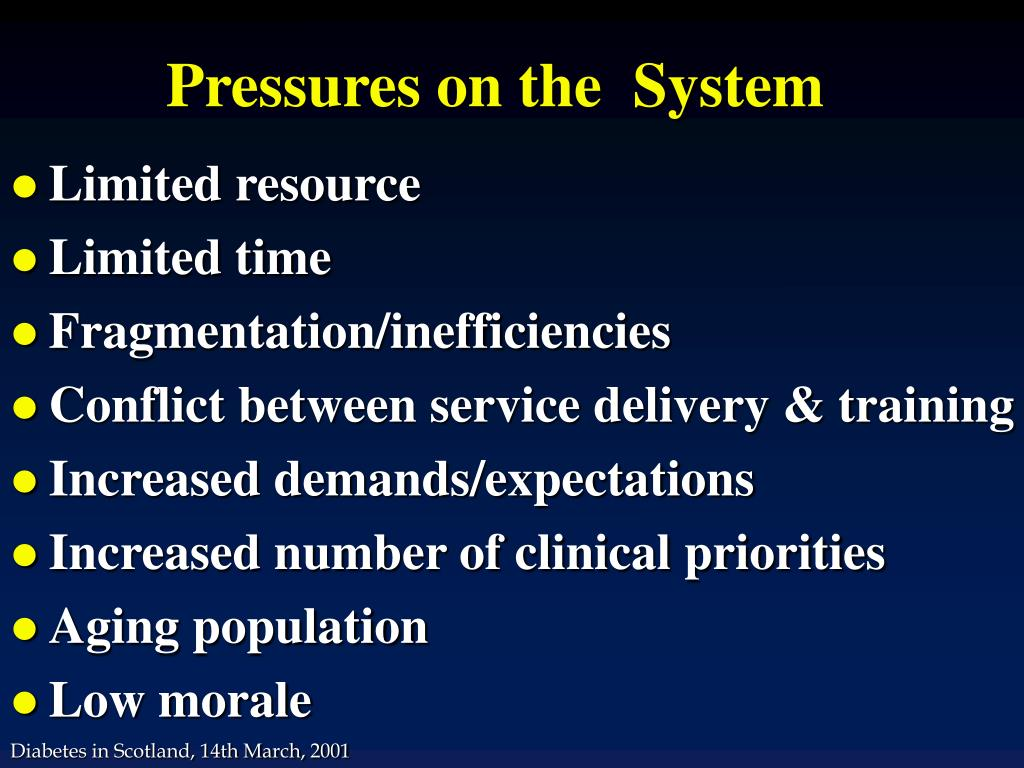 Pressures on the  System