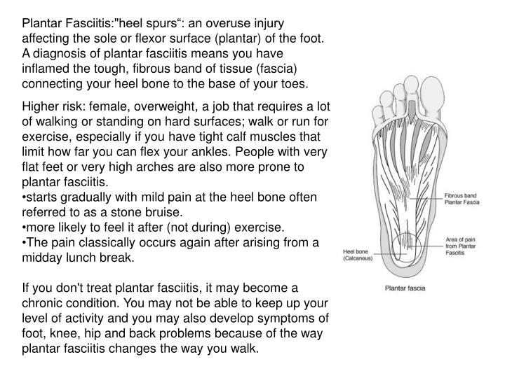 """Plantar Fasciitis:""""heel spurs"""": an overuse injury affecting the sole or flexor surface (plantar) of the foot. A diagnosis of plantar fasciitis means you have inflamed the tough, fibrous band of tissue (fascia) connecting your heel bone to the base of your toes."""
