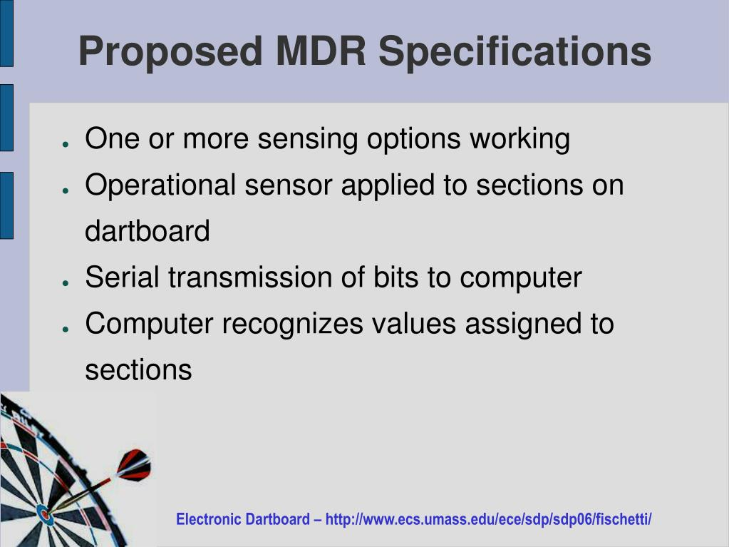 Proposed MDR Specifications
