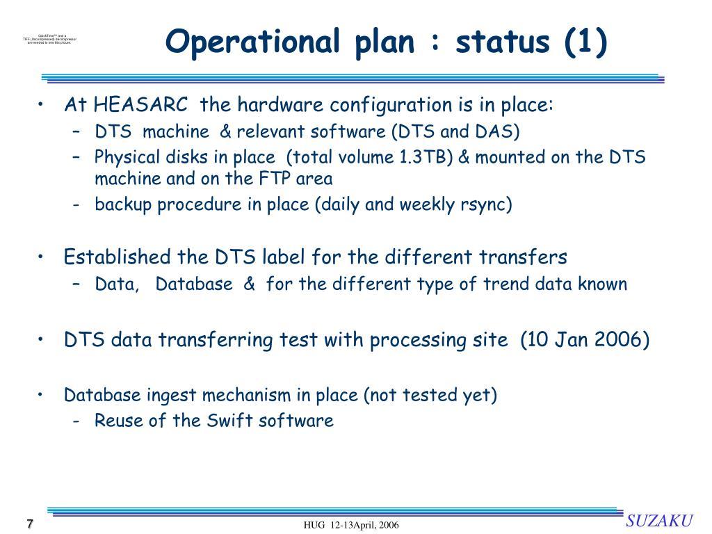 Operational plan : status (1)