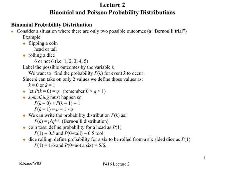 Lecture 2 binomial and poisson probability distributions