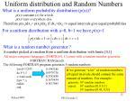 uniform distribution and random numbers