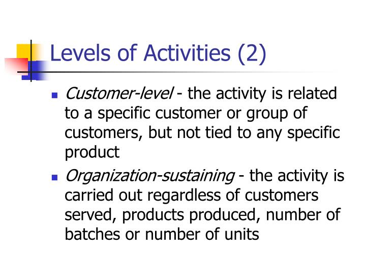 Levels of Activities (2)