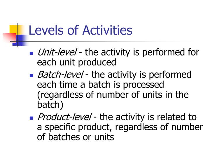 Levels of Activities
