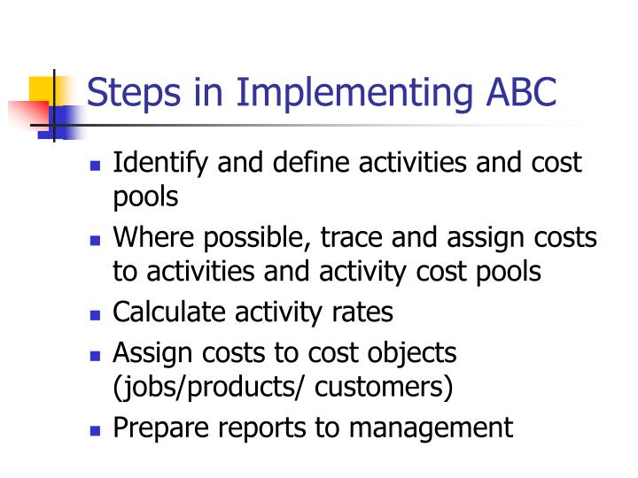 Steps in Implementing ABC