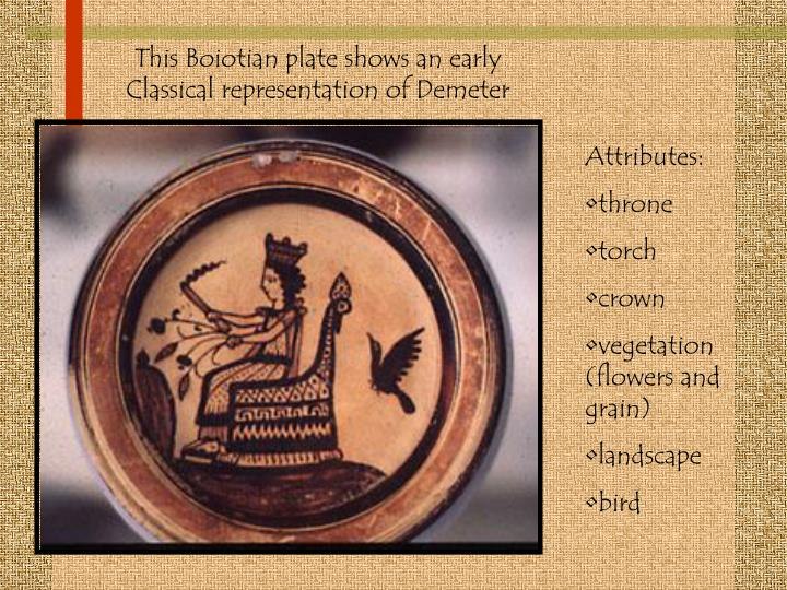 This Boiotian plate shows an early Classical representation of Demeter