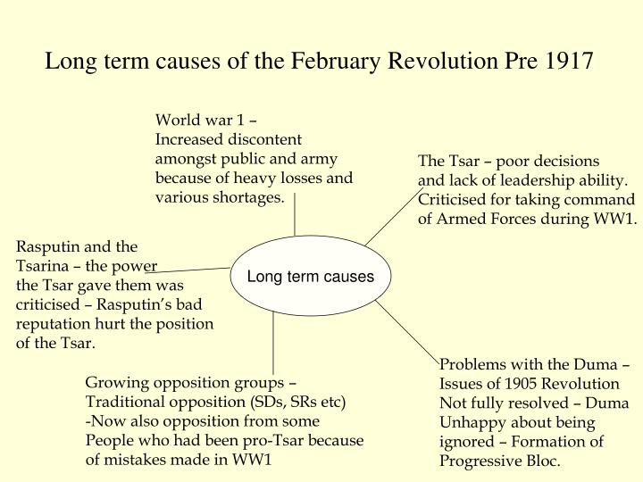 february revolution causes The february revolution essaythe february revolution 1917 the february revolution in 1917 marked the end of the tsardom and long-ruling romanov dynasty there are many long-term and short-term causes which led to the overthrow of monarchy in russia.