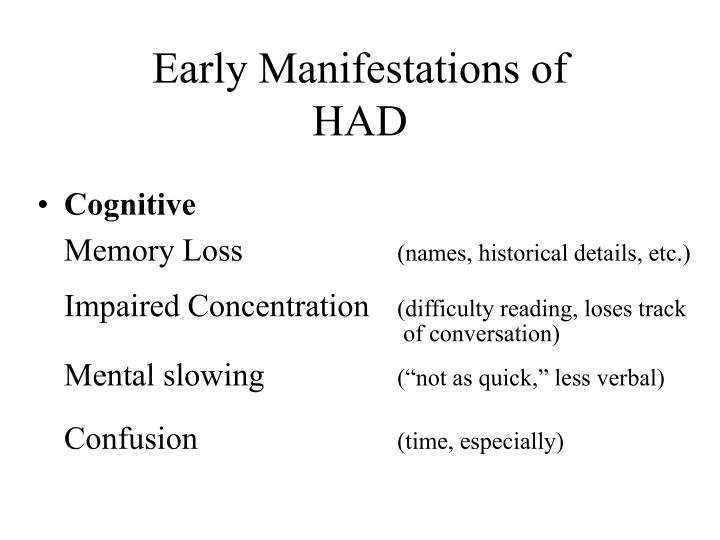 Early Manifestations of