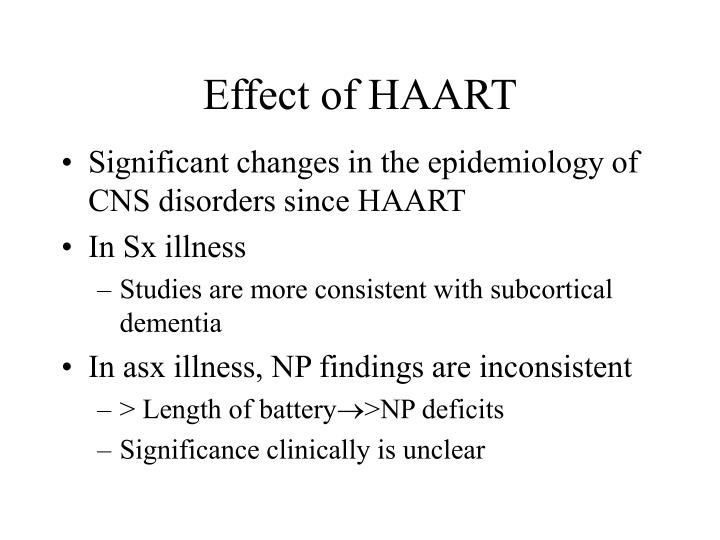 Effect of HAART
