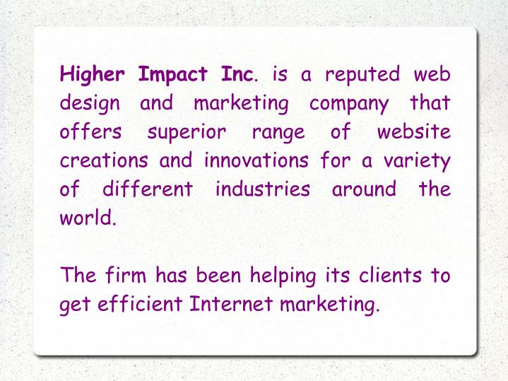 Higher Impact Inc