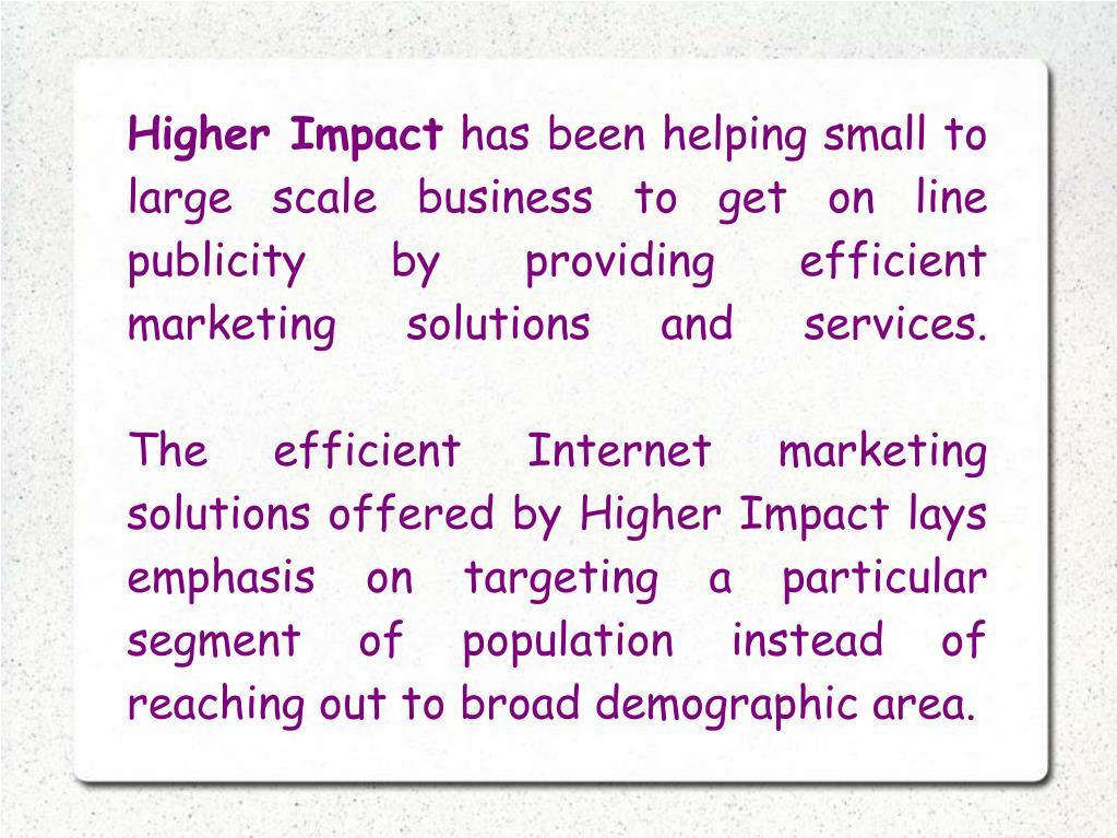 Higher Impact