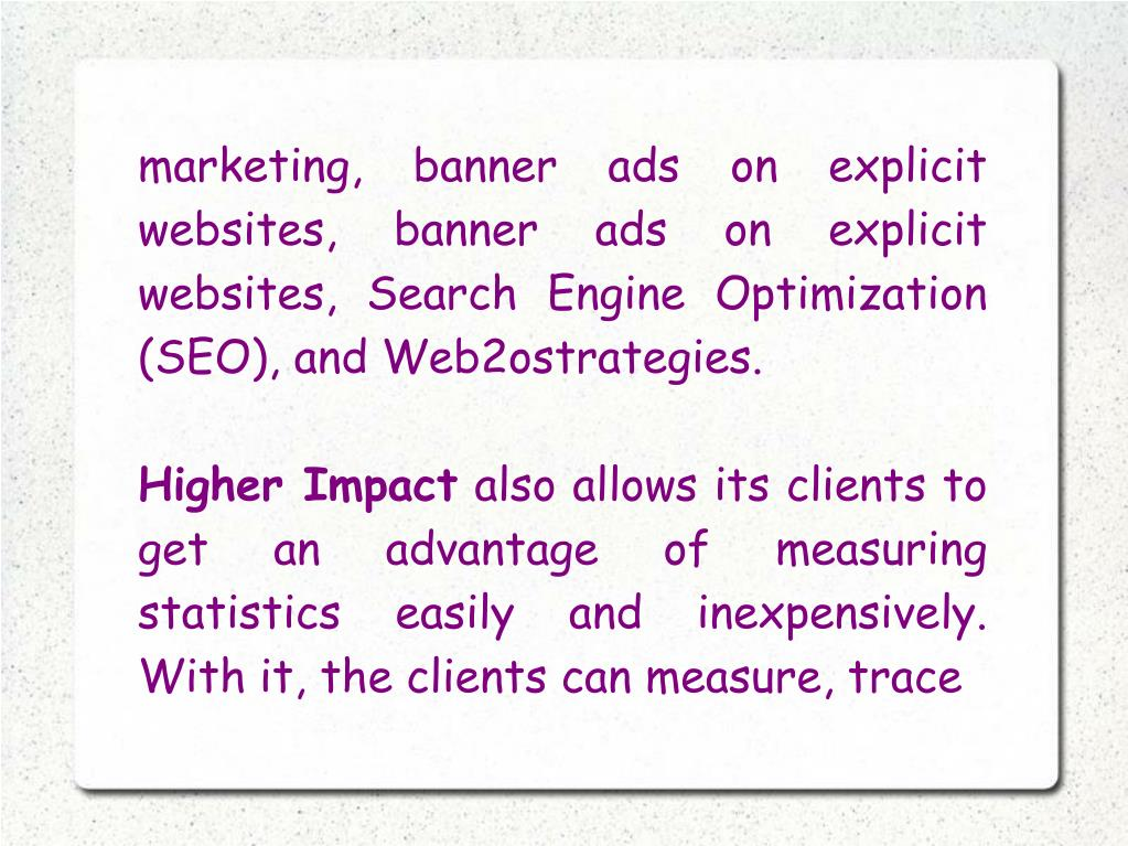 marketing, banner ads on explicit websites, banner ads on explicit websites, Search Engine Optimization (SEO), and Web2ostrategies.