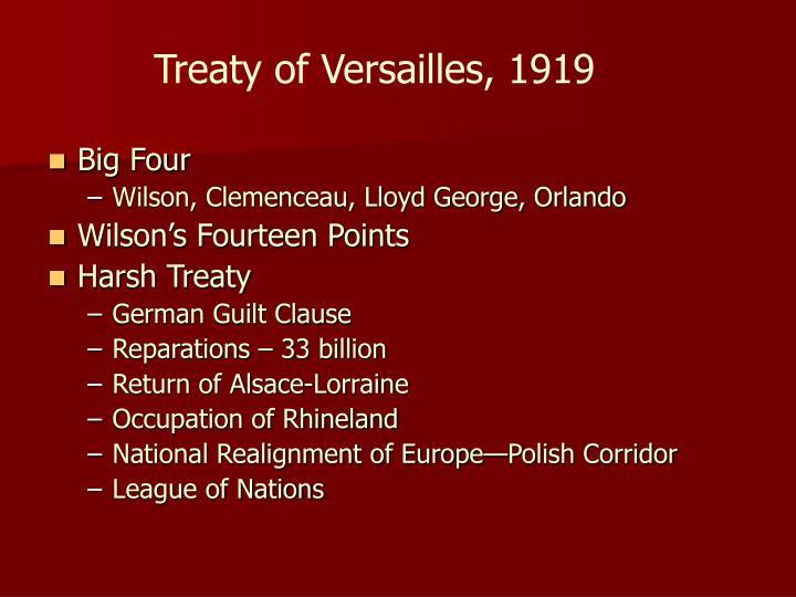 Treaty of Versailles, 1919