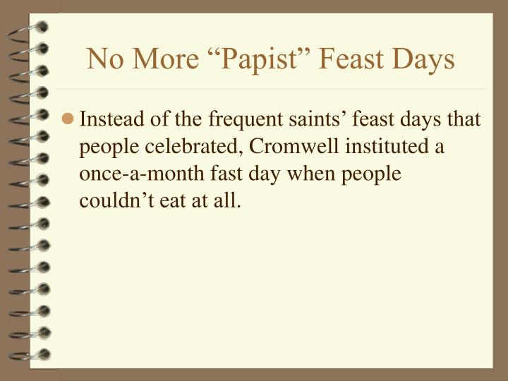 "No More ""Papist"" Feast Days"