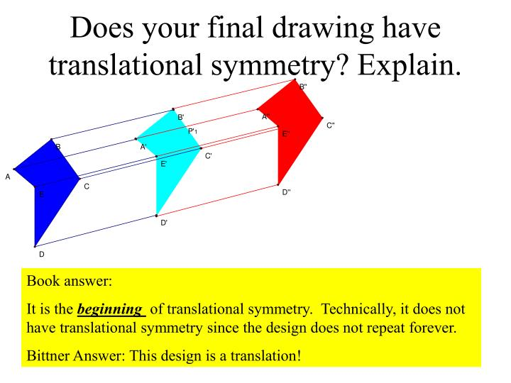 Does your final drawing have translational symmetry? Explain.
