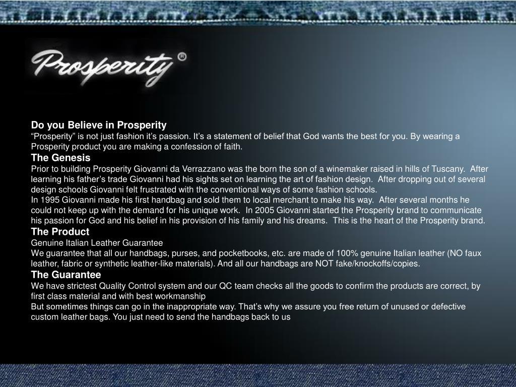 Do you Believe in Prosperity