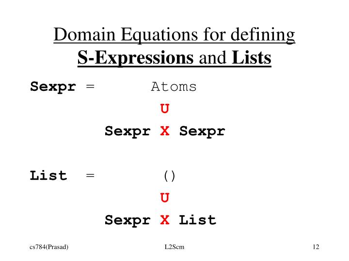 Domain Equations for defining