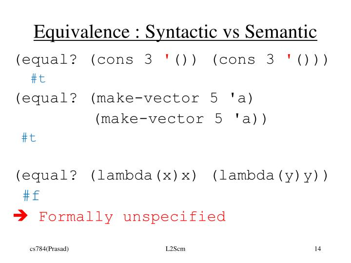 Equivalence : Syntactic vs Semantic