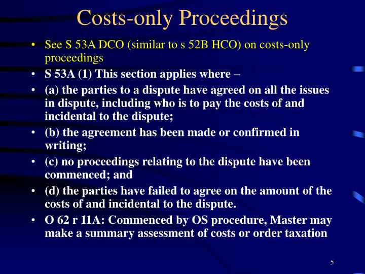 Costs-only Proceedings