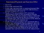 sanctioned payment and sanction offer