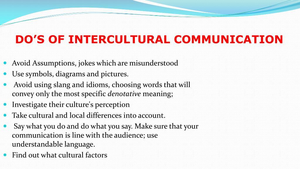 DO'S OF INTERCULTURAL COMMUNICATION