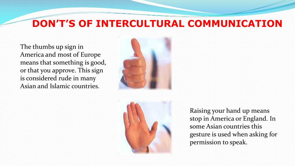 DON'T'S OF INTERCULTURAL COMMUNICATION