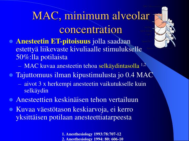 MAC, minimum alveolar concentration