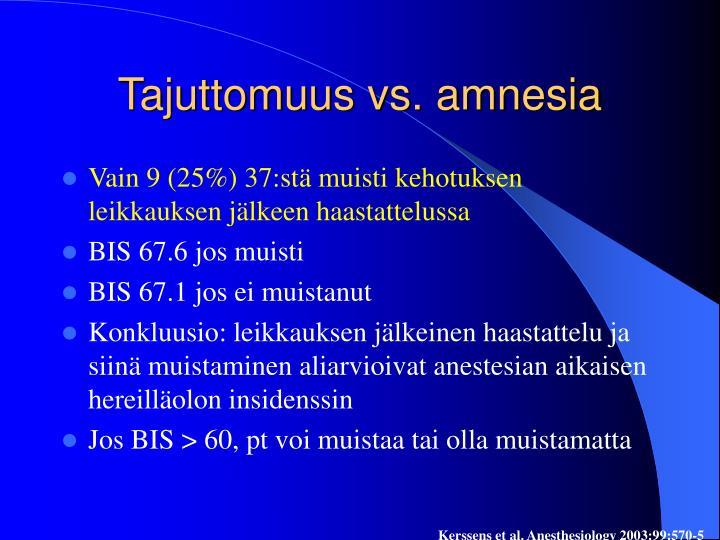 Tajuttomuus vs. amnesia