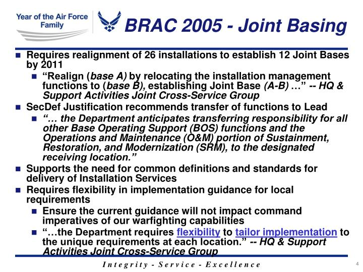 BRAC 2005 - Joint Basing