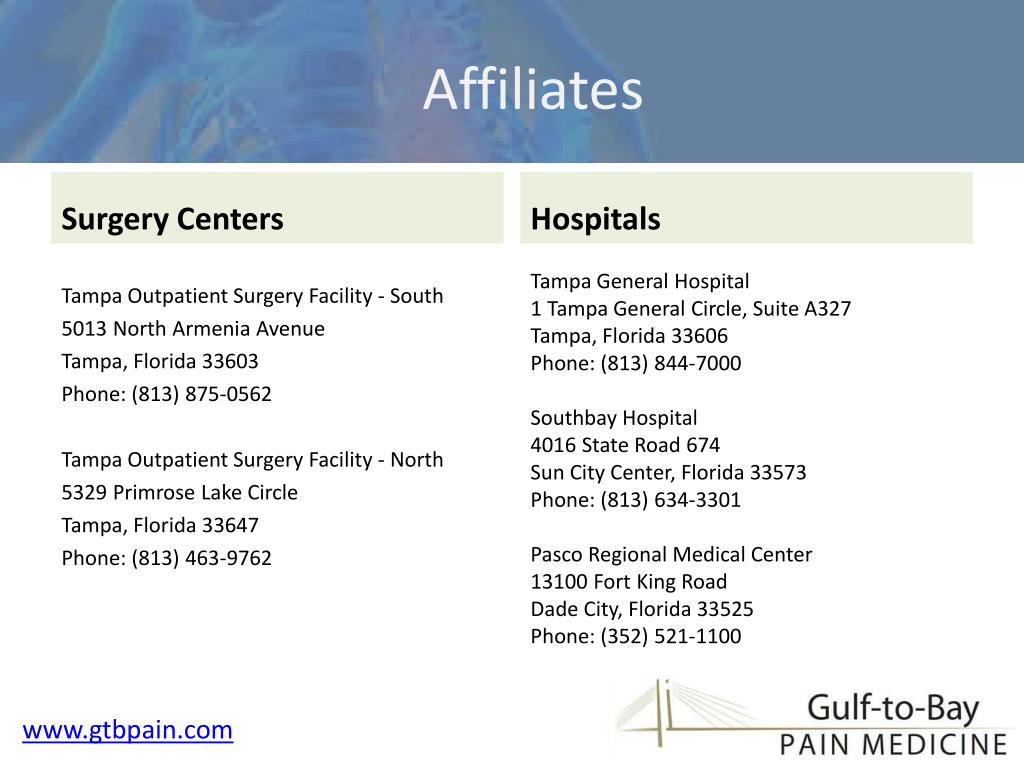 Surgery centers & Hospitals