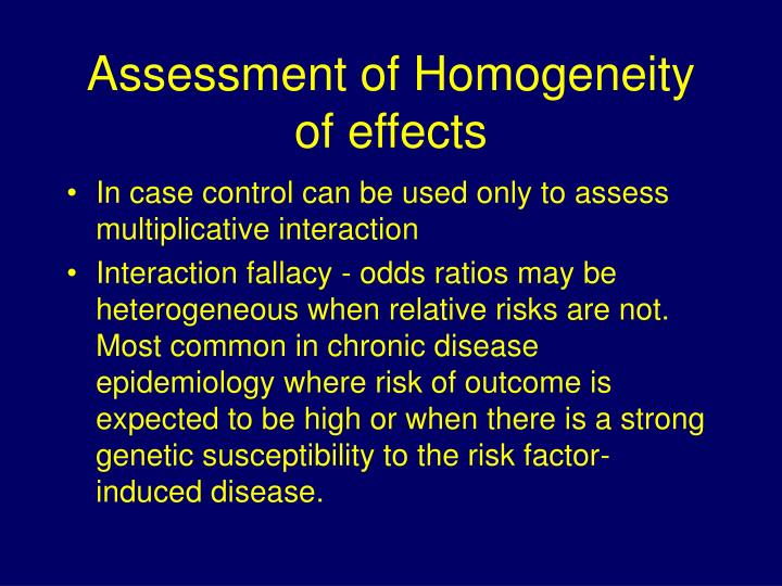 Assessment of Homogeneity of effects