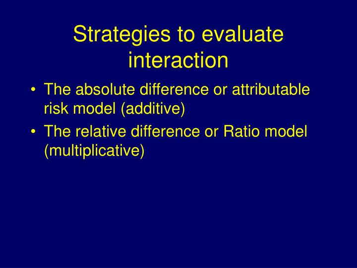 Strategies to evaluate interaction