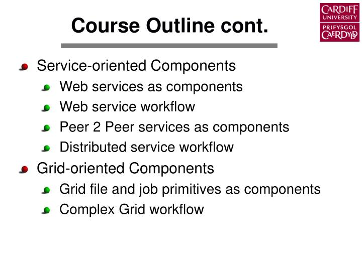 Course Outline cont.