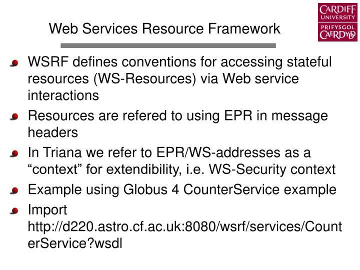 Web Services Resource Framework