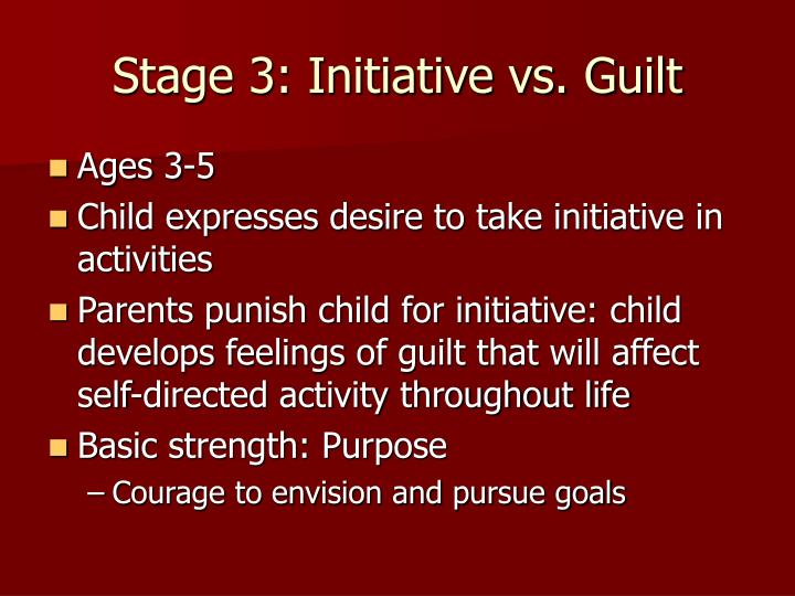 initiative vs guilt the third stage of erikson psychosocial development Initiative vs guilt: the third stage of the psychosocial development theory stage 3: initiative vs guilt stage 3 occurs in a human's life when they are around 3 to 5 years old.